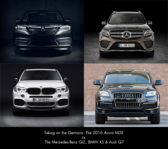 Comparison The 2016 Acura Mdx Vs Audi Q7 Bmw X5 And Mercedes Benz Gle350 Taking On The Germans Friendly Acura Of Middletown