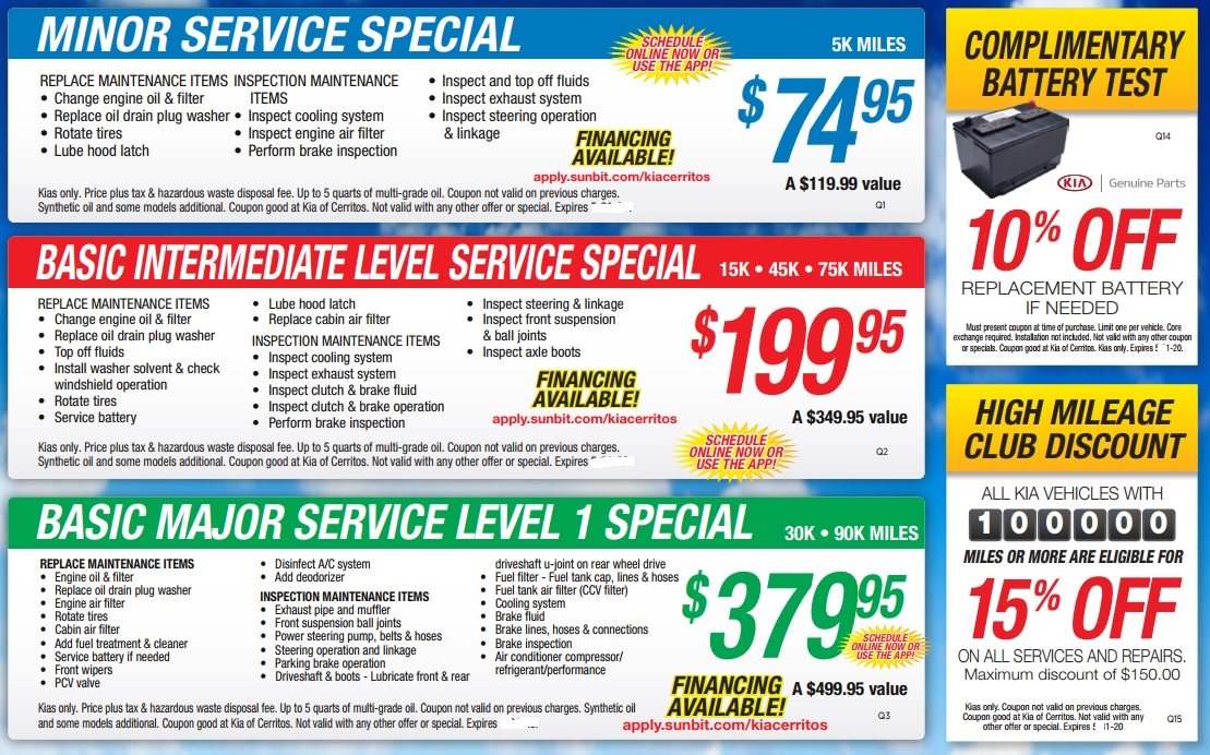 May 2020 Service Specials