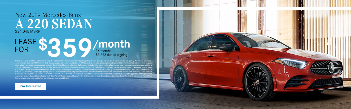 2019 Mercedes-Benz A220 for $359 per month lease